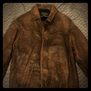 Eddie Bauer Brown Leather Bomber Jacket
